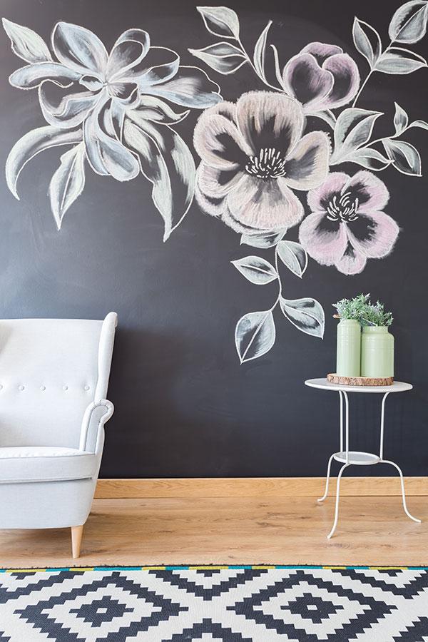 parete con vernice lavagna
